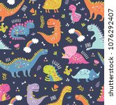 Stock vector cute funny kids dinosaurs pattern colorful dinosaurs vector background backdrop for textile and 1076292407