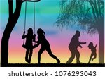 family of silhouettes. | Shutterstock .eps vector #1076293043