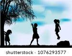 silhouettes of children... | Shutterstock .eps vector #1076293577