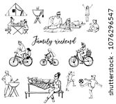 family weekend. sketch and... | Shutterstock .eps vector #1076296547