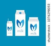 milk illustration set in...   Shutterstock .eps vector #1076298053