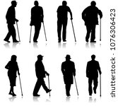 set silhouette of disabled... | Shutterstock .eps vector #1076306423