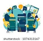 server room for network and... | Shutterstock .eps vector #1076313167