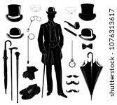 elegant gentleman  vintage...   Shutterstock .eps vector #1076313617