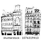 ink sketch of buildings. hand... | Shutterstock .eps vector #1076319413