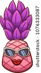 pink cartoon pineapple with... | Shutterstock .eps vector #1076333087