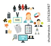 flat human resource icons set....