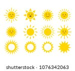 set of the suns. cute suns.... | Shutterstock .eps vector #1076342063