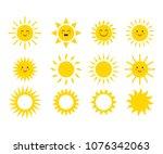 set of the suns. cute suns.... | Shutterstock .eps vector #1076342063