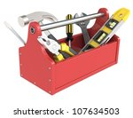 Toolbox with tools. Red toolbox with tools. - stock photo
