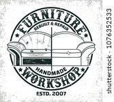 vintage furniture workshop logo ...   Shutterstock .eps vector #1076352533