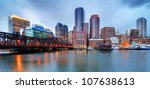 Stock photo skyline of downtown boston from the pier 107638613