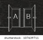double doors open two choices a or b, door frame written on blackboard background, high resolution, easy to use - stock photo