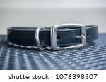black leather collar with metal ... | Shutterstock . vector #1076398307
