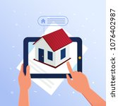 a man using tablet recive the... | Shutterstock .eps vector #1076402987