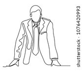 the businessman is leaning on... | Shutterstock .eps vector #1076420993
