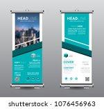 roll up banner standee business ... | Shutterstock .eps vector #1076456963