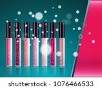 cosmetic product glosses make up | Shutterstock .eps vector #1076466533