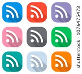 rss icon. set of white icons on ...   Shutterstock .eps vector #1076475473