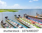 tourist boat on the lake... | Shutterstock . vector #1076480207