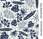 seamless pattern with tropical... | Shutterstock .eps vector #1076496743