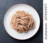 Soba Noodles On A White Plate....