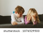 brother and sister rivalry ...   Shutterstock . vector #1076529503