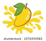 vector yellow mango and juice... | Shutterstock .eps vector #1076554583