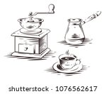 coffee make set with manual... | Shutterstock .eps vector #1076562617