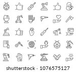 thin line icon set   abacus... | Shutterstock .eps vector #1076575127