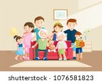 warm big family portrait with... | Shutterstock .eps vector #1076581823