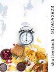 diet fail concept. breaking up... | Shutterstock . vector #1076592623