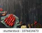 crayfish and condiments | Shutterstock . vector #1076614673