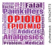 opioid crisis word cloud... | Shutterstock . vector #1076624573