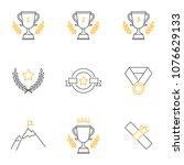 awards vector icons set ... | Shutterstock .eps vector #1076629133
