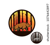 boar in forest circle badge.... | Shutterstock .eps vector #1076642897