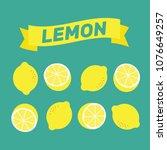 lemon pattern illustration... | Shutterstock .eps vector #1076649257