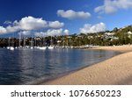 many moored yachts and boats in ... | Shutterstock . vector #1076650223