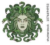 medusa head with snakes greek...   Shutterstock .eps vector #1076694953