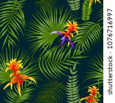 tropical leaves and flowers... | Shutterstock .eps vector #1076716997