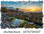 stunning sunrise at the ruins... | Shutterstock . vector #1076734337