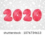 2020 polygonal symbol. happy... | Shutterstock .eps vector #1076734613
