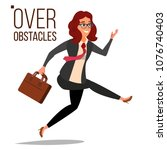business woman jumping over... | Shutterstock .eps vector #1076740403