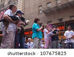 NEW YORK CITY - 14 JULY 2012: Broadway Barks marks its 14th year with a celebrity-studded adoption fair in Shubert Alley. Judy Kaye et. al. present adoptable mutts on 14 July 2012 in New York City. - stock photo