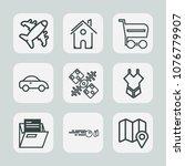 premium set of outline icons.... | Shutterstock .eps vector #1076779907