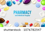 pills background. vitamin... | Shutterstock .eps vector #1076782547