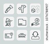 premium set of outline icons.... | Shutterstock .eps vector #1076788907