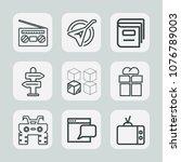 premium set of outline icons.... | Shutterstock .eps vector #1076789003