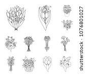 a bouquet of fresh flowers... | Shutterstock .eps vector #1076801027
