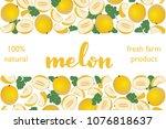 vector illustration of melon... | Shutterstock .eps vector #1076818637